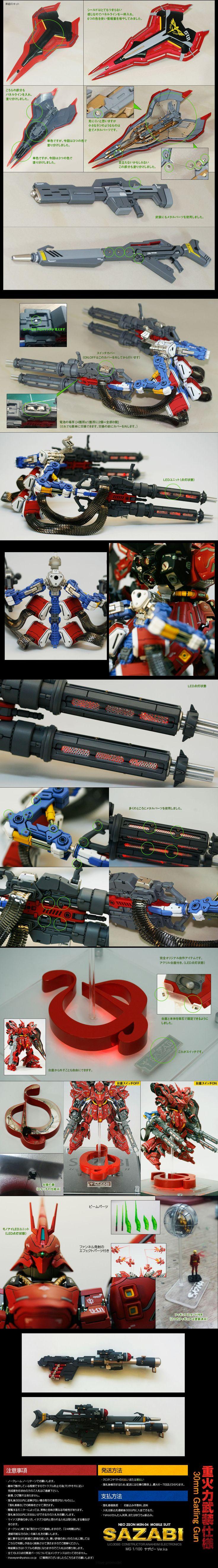 MG Sazabi Ver.Ka 30mm Gatling Gun FULL LEDs, Amazing Improved Work, Best Sazabi Ever! Full Photoreview [WIP too] Hi Res Images | GUNJAP