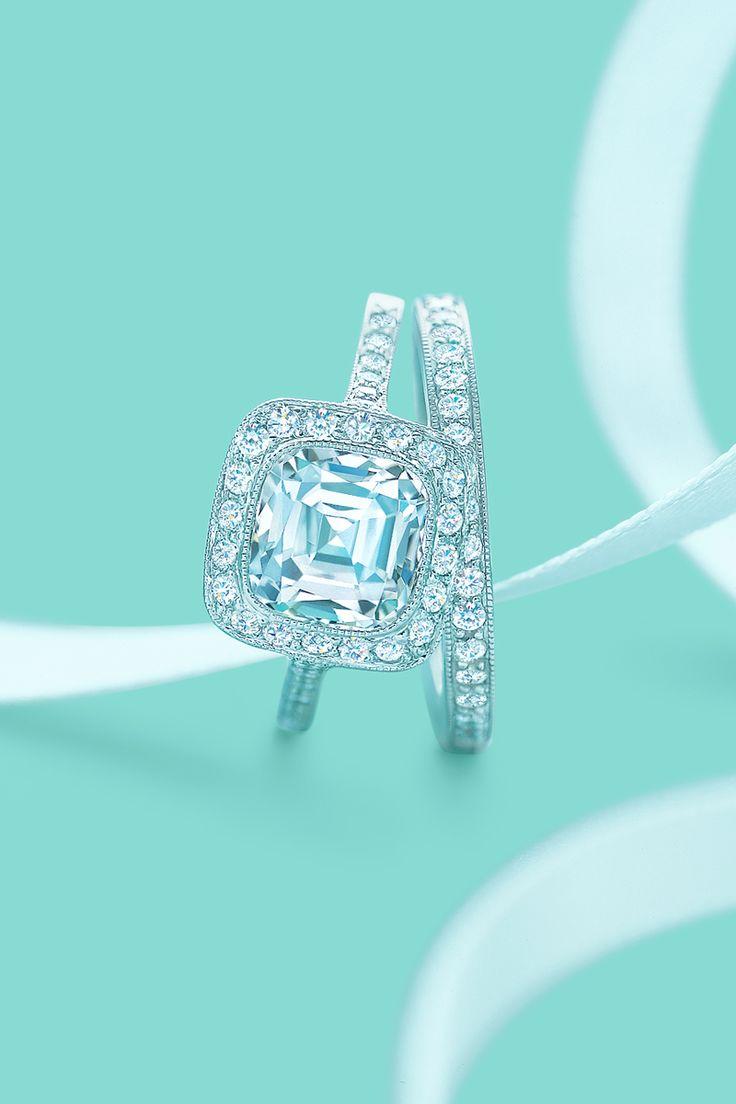 Tiffany Legacy® Diamond Halo Engagement Ring With A Matching Diamond Wedding  Band Beautiful