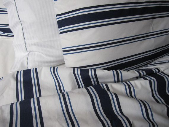 Housse de couette nautique marin bleu marine blanc par nurdanceyiz