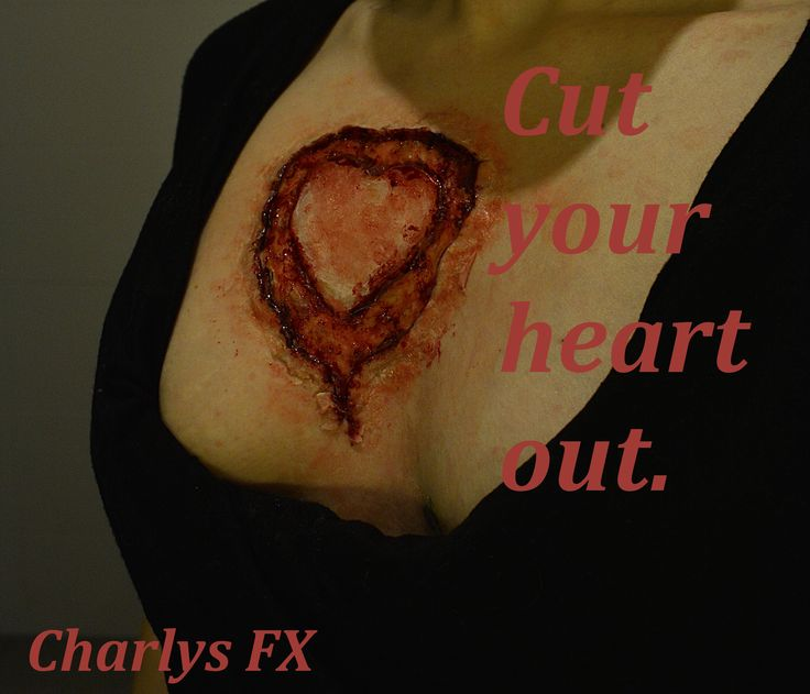 Halloween/valentines makeup heart on chest FX makeup