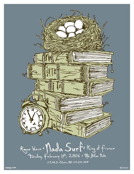 nada surf music gig posters   Nada Surf concert poster by Greg Gordon   Band's posters