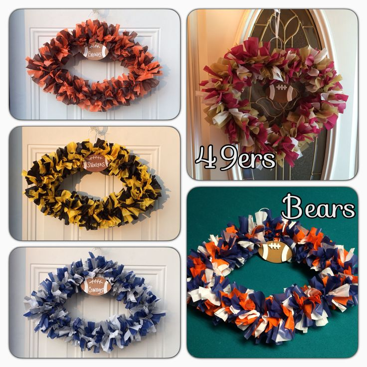 Football Wreaths Made From Plastic Table Clothes Amp Wire