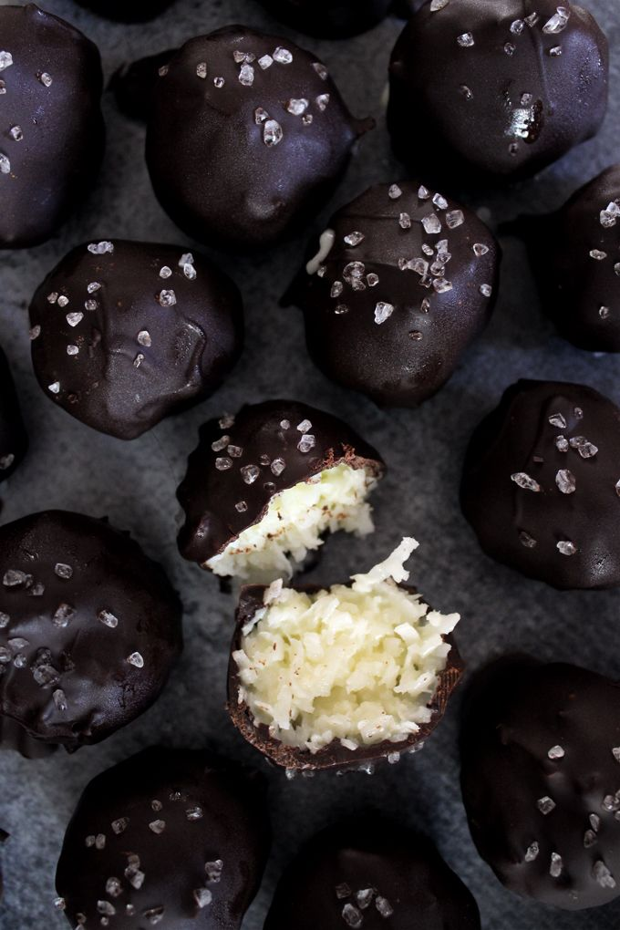 Bake Something Together // Salted dark chocolate coconut bites.
