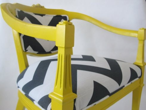 Yellow chair with chevron.