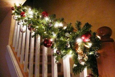 I look forward to decorating my first banister!: Christmas Holiday Decor, Banister Decor, Christmas Banister, Jingle Belle, Christmas Lights, Christmas Decor, Holiday Decor Ideas, Christmas Trees, Christmasholiday Decor