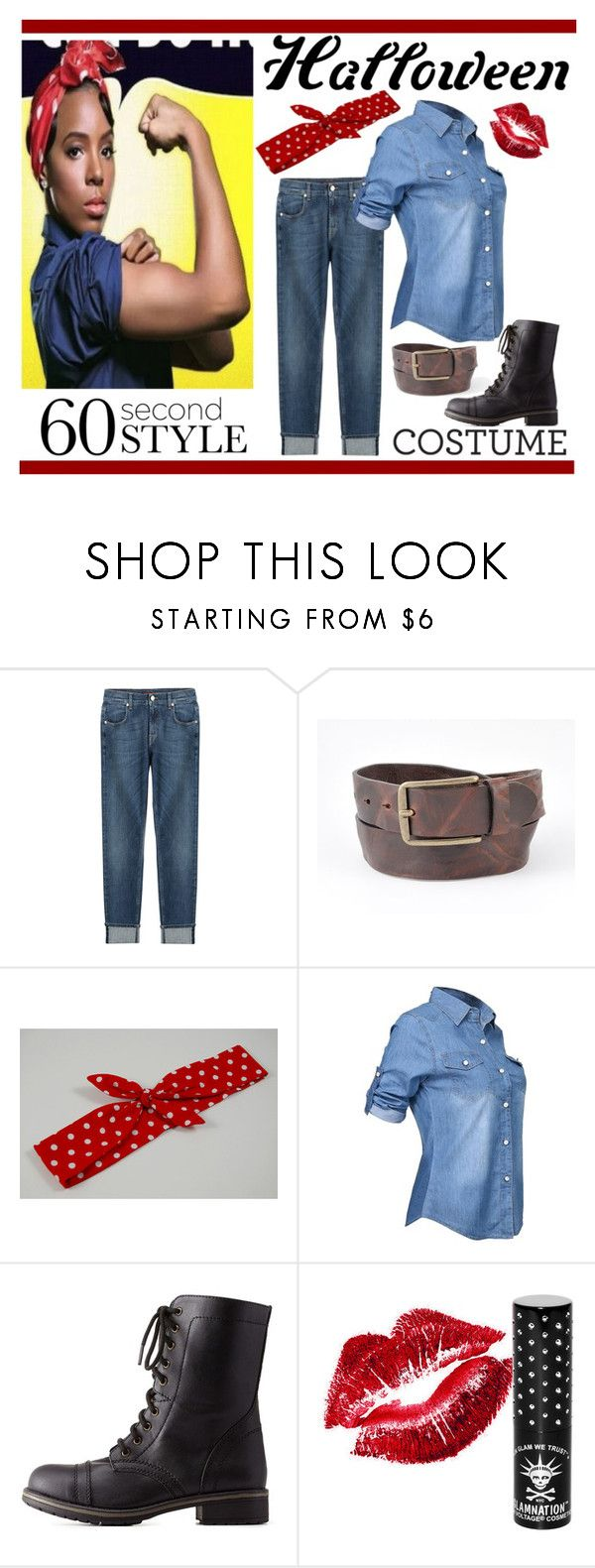 """Rosie The Riveter"" by travlingal ❤ liked on Polyvore featuring 7 For All Mankind, Charlotte Russe, Manic Panic, polyvoreeditorial, diycostume, 60secondstyle and Halloween2015"