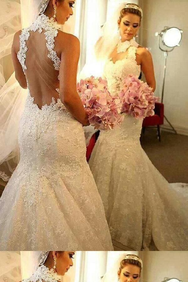 Outlet Distinct Lace Wedding Dress, Wedding Dress Mermaid, High Neck Wedding Dress