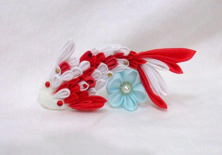 Red and White kanzashi koi by EruwaedhielElleth.deviantart.com on @DeviantArt