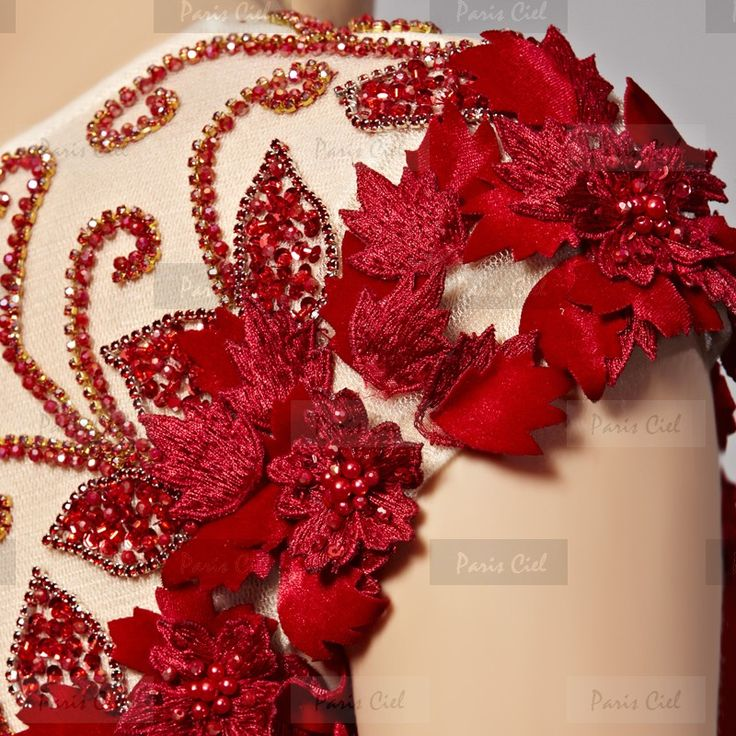Abendkleider  Lang Zarte Rot V-Ausschnitt