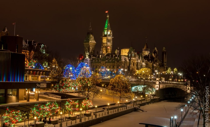 The Rideau Canal Skatweay and Parliament Hill aglow with thousands of LED lights as part of the Christmas Lights Across Canada program.
