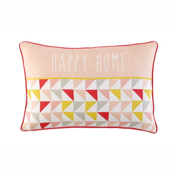 HAPPY HOME pink/yellow cotton cushion 35 x 50 cm