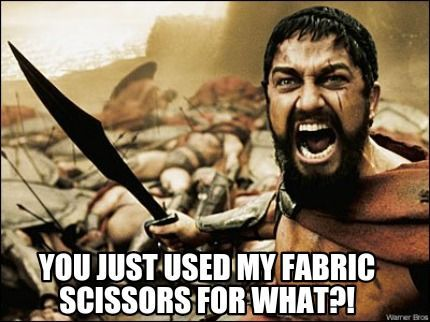 Fabric scissors for what? Funny meme.