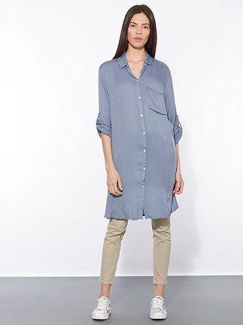 Celestino - Μακρύ πουκάμισο από βισκόζη με τσέπη στο στήθος