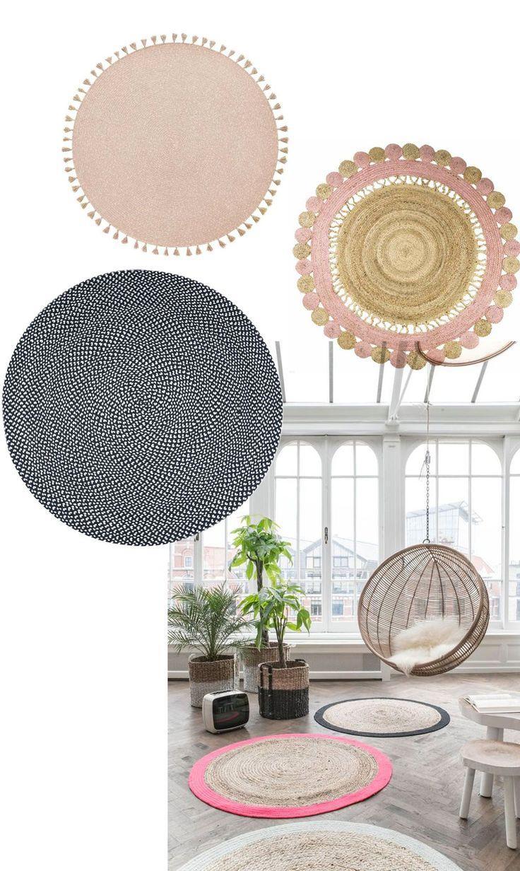 dcoration le tapis rond tapis en juste color peu avoir des pompons - Tapis Rond Color