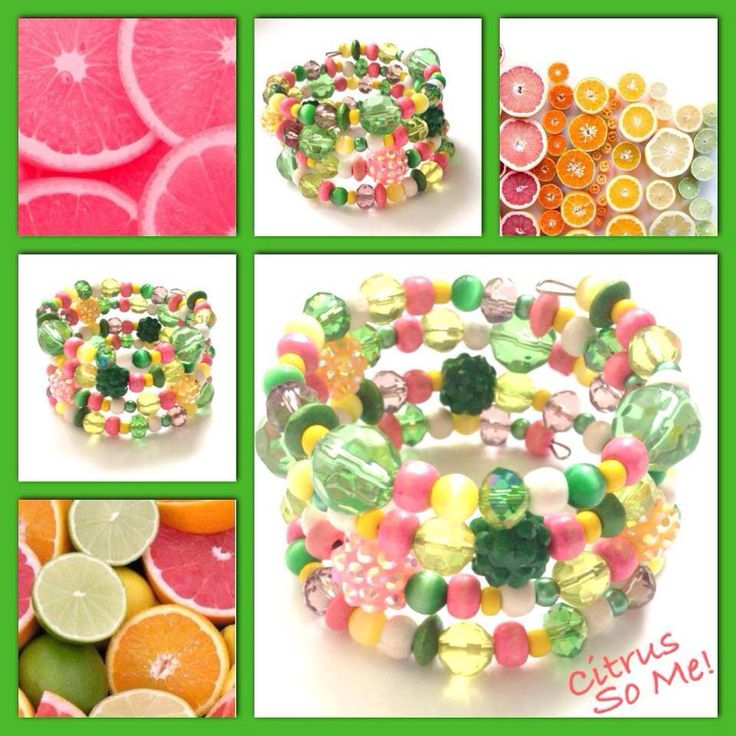 Citrus! Moderne, mooie zelfgemaakte armbanden, glas parels, glas kralen , Memory wire, http://some-accessoires.nl
