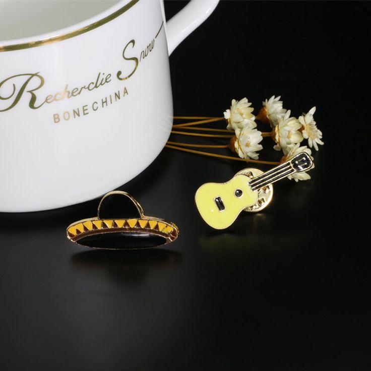 2pcs/set Hat Creative Guitar Ceramics Brooch Denim Jacket Pin Buckle Shirt Badge Fashion Jewelry Gift For Friend #Affiliate