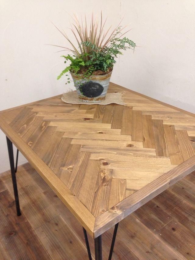 ヘリンボーン カフェテーブル ironleg by Kacco's GALLERY 家具・生活雑貨 家具 | ハンドメイドマーケット minne(ミンネ)