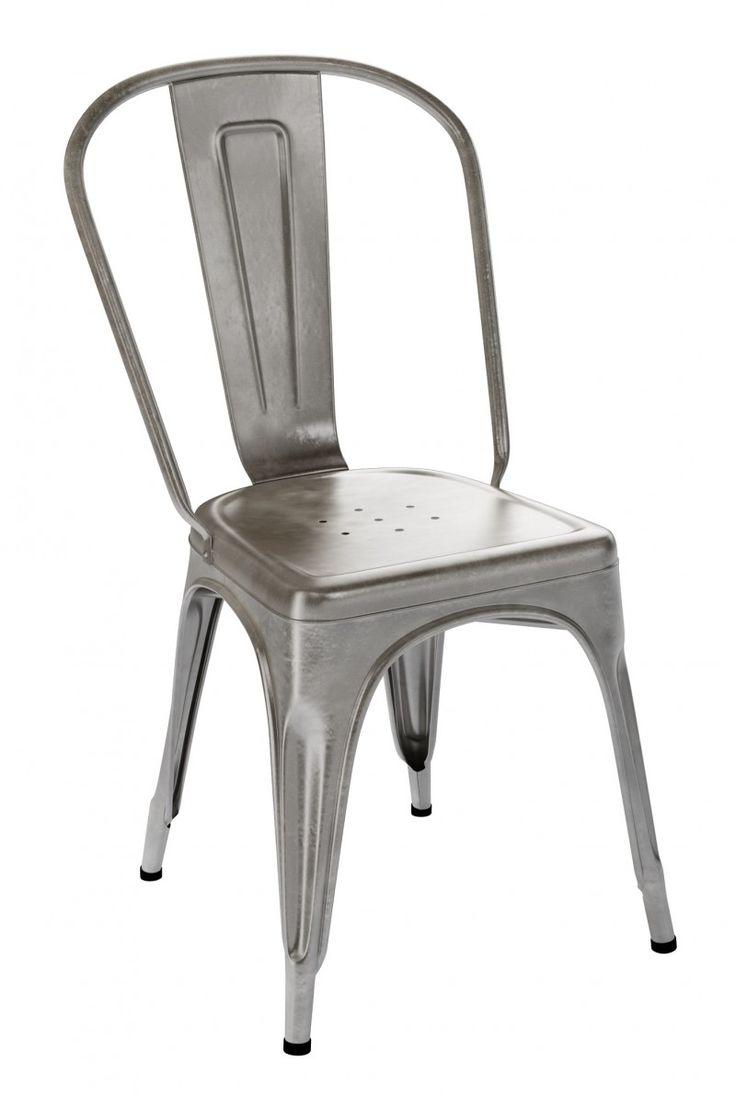 Chaise Tolix A par Xavier Pauchard La forme de la chaise est réalisé par emboutissage qui courbe la plaque de métal.