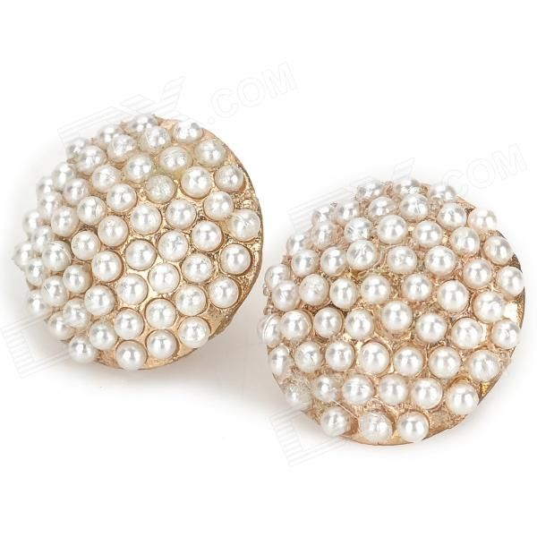 Brand: N/A; Quantity: 2 Piece; Color: Golden + White; Material: Zinc alloy + manmade pearl; Gender: Women; Suitable for: Adults; Length: 1.3 cm; Width: 1.8 cm; Features: Good for matching kinds of dress; Great gifts to your girl friends; Packing List: 2 x Ear studs; http://j.mp/YrbCzA