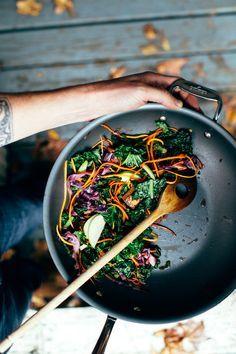 Kale Stir Fry with an Apple Cider Sauce | Earthy Feast