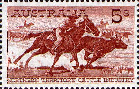 Cattle 5/-. Featuring the Northern Territory  cattle industry, showing an aboriginal stockman cutting out a steer.  Issued 23 July 1961.