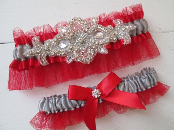 Red & Silver Wedding Garter Set Red and Gray by GibsonGirlGarters