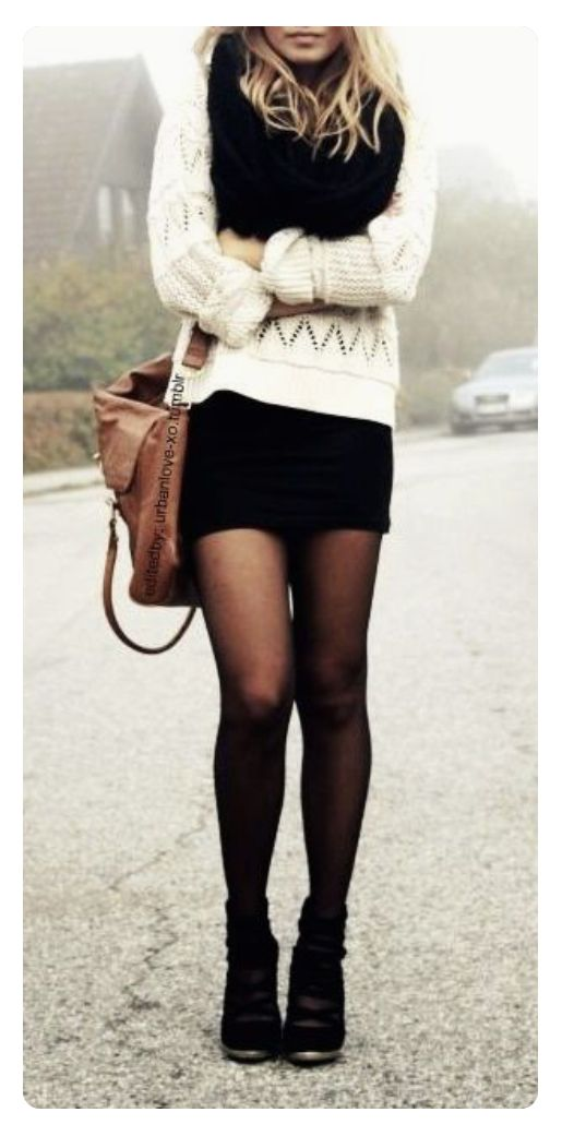 Dear Stitch Fix Stylist, I like the sweater combined with the short skirt and black tights. Sexy!