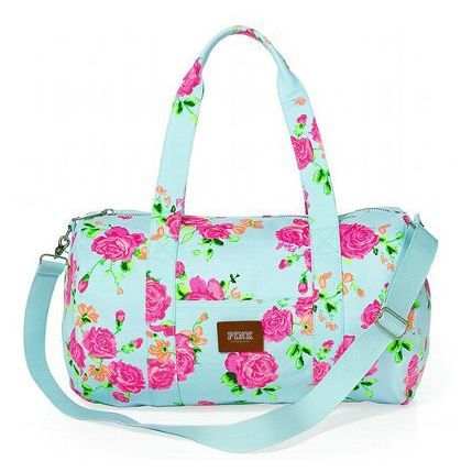 Victoria's Secret Pink Floral Mini Duffel Bag Pastel Blue