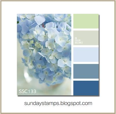 http://sundaystamps.blogspot.com/ hades of blue to work with, along with a pop of green and gray. Use a Minimum of 3 colors and a neutral of your Choice