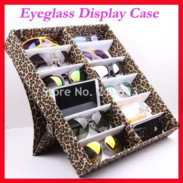 12B Oxford Leopard Black Eyeglass Eyewear Sunglasses Storage box Case Tray Display Hold12pcs of sunglasses free shipping