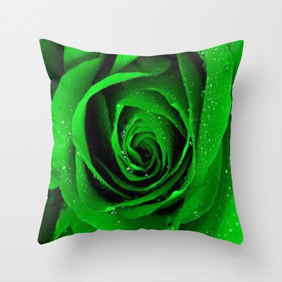 BEAUTIFUL GREEN ROSE Throw Pillow