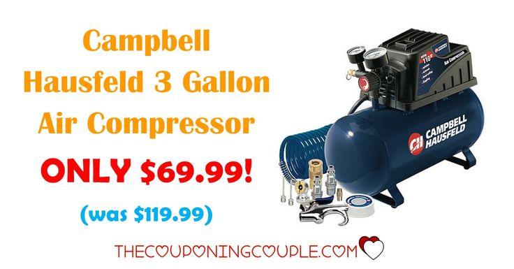 HOT BUY! Don't miss out on grabbing the Campbell Hausfeld 3 Gallon Air Compressor for ONLY $69.99 (was $119.99)!  Click the link below to get all of the details ► http://www.thecouponingcouple.com/campbell-hausfeld-3-gallon-air-compressor/ #Coupons #Couponing #CouponCommunity  Visit us at http://www.thecouponingcouple.com for more great posts!