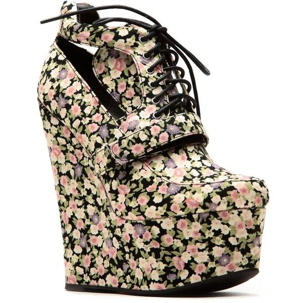 Qupid Qupid Floral Lace Up Sky High Platform Booties ($41) ❤ liked on Polyvore featuring shoes, boots, ankle booties, wedge bootie, wedge ankle boots, short boots, lace-up ankle booties and wedge boots