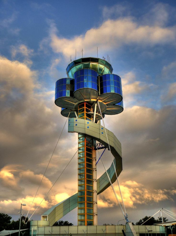 Sydney Airport's control tower. Is that not the biggest playground slide ever?!?!?