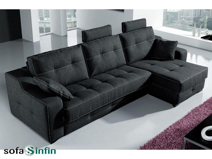 Sofassinfin.es Sofá chaise-longue cama modelo Magali fabricado por Suinta.