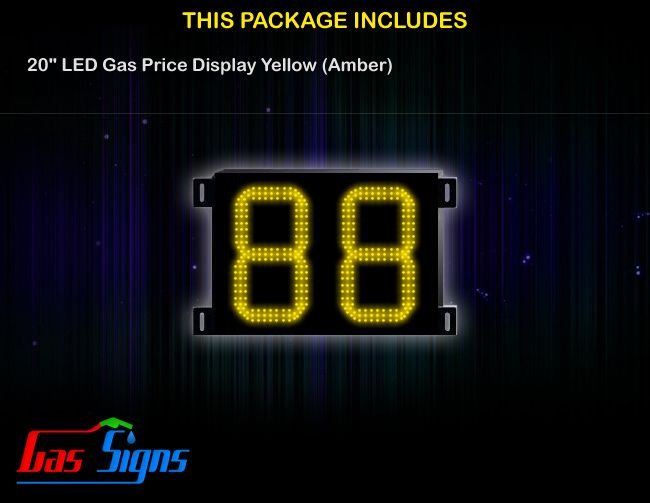 20 Inch 88 LED Gas Price Display Yellow with housing dimension H590mm x W755mm x D55mmand format 88 comes with complete set of Control Box, Power Cable, Signal Cable & 2 RF Remote Controls (Free remote controls).