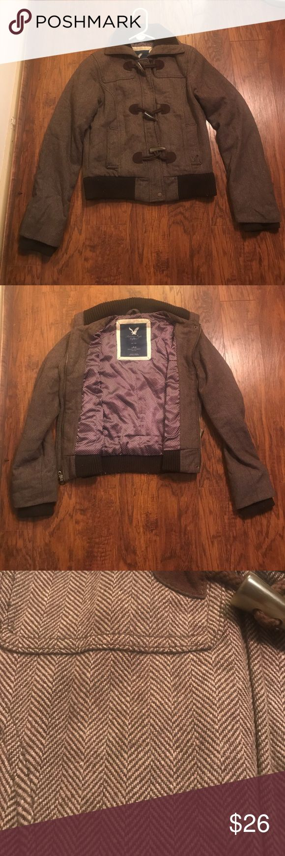 American Eagle Outfitters Brown Jacket Size Medium American Eagle Brown Jacket Size Medium! Jacket has a collar, pockets, zipper down the front with buttons, small chevron printing all over jacket. Great for fall or winter!! American Eagle Outfitters Jackets & Coats Utility Jackets