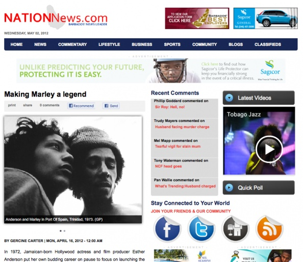 Making Marley a legend. Esther Anderson interview in Barbados. Nation News
