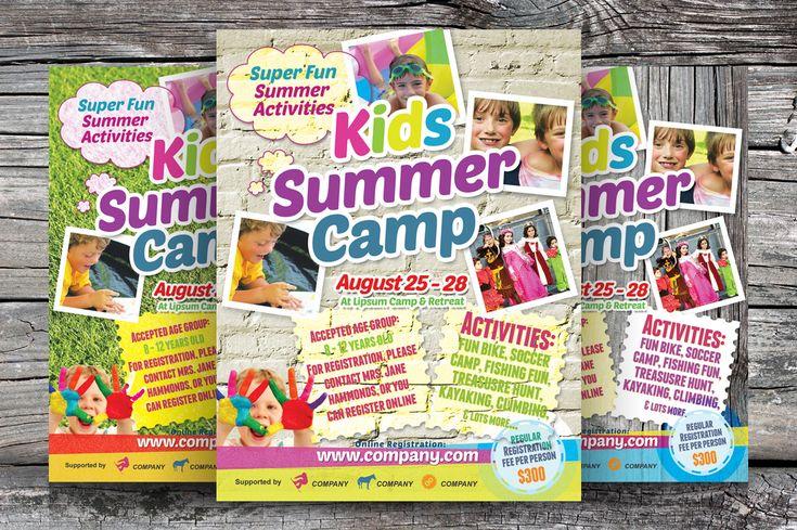 Kids Summer Camp Flyers by kinzi21 on Creative Market