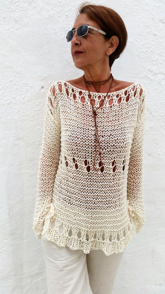 Cream summer sweater, cotton knit sweater, women sweater, hand knit sweater…