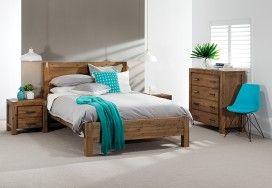 Silverwood 5 Piece Dresser Queen Bedroom Suite | Super A-Mart - Love the aqua cushion & throw.