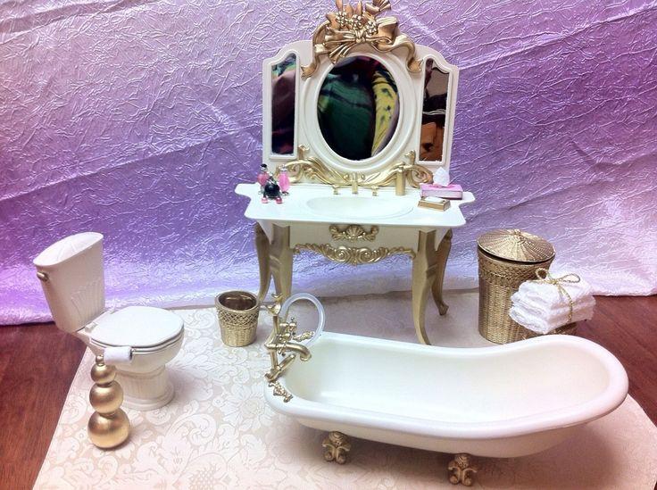 OOAK Barbie Victorian Bathroom 1 6 Scale Furniture Tub Sink Toilet Accessories | eBay