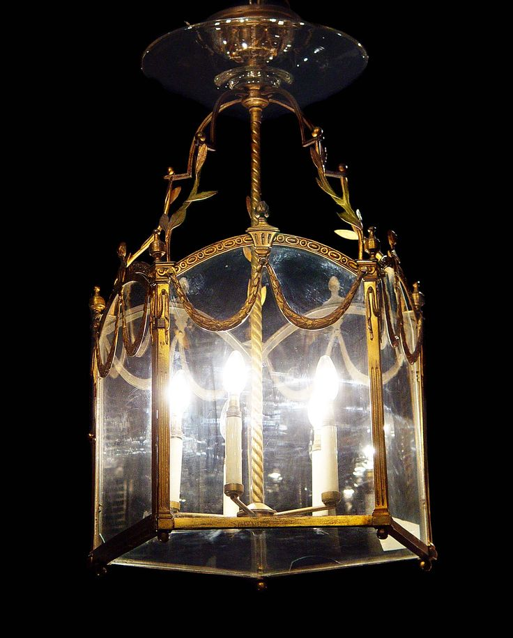 Antique gilt brass lantern with glass panels louis xvi style