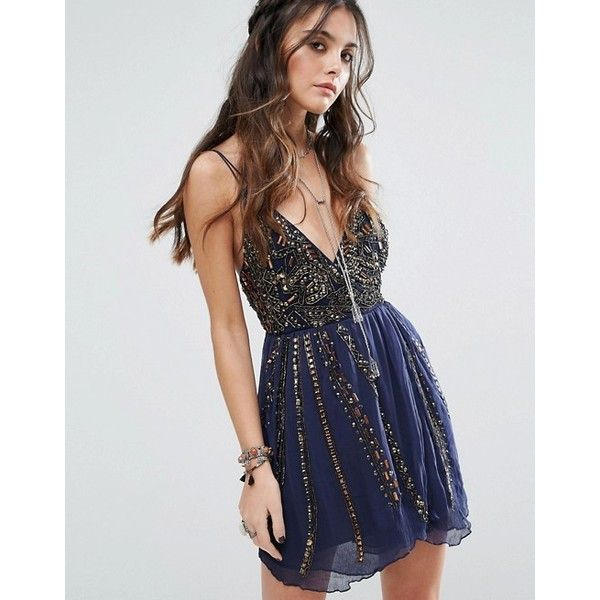 Free People Cassiopeia Party Mini Dress ($275) ❤ liked on Polyvore featuring dresses, night out dresses, party dresses, mini dress, going out dresses and short party dresses