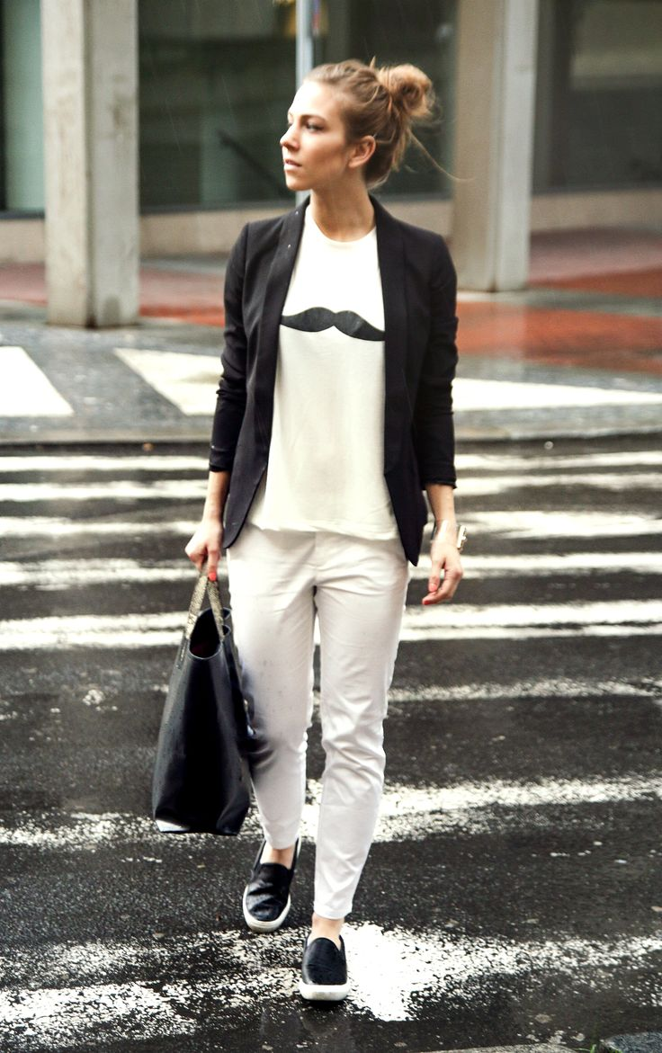 Wearing my moustache t-shirt in Prague, with Zara black basic blazer and black leather slip-ons.