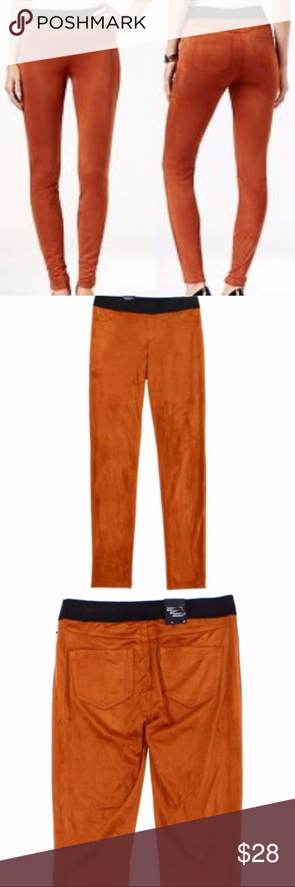 """INC Faux Suede Rawhide Skinny Leggings NWT INC International Concepts is classic, versatile fashion for women and great addition to your fall wardrobe. Affordable quality professional and casual wardrobe wear. Pants are pull on with a flat front and patch pockets on the back. Color is rawhide and is more like a burnt orange/brown color. 88% polyester, 12% spandex  Measurements: Inseam: approx. 31"""" Rise: approx. 10"""" INC International Concepts Pants Leggings"""