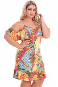 Vestido Plus Size Tropical Drink