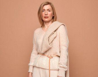 knit sweater pale blue cream camel SABRINA WEIGT от SABRINAWEIGT