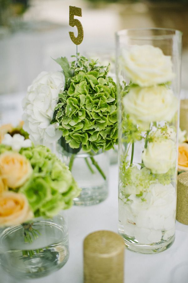 Green HYDRANGEAS centerpiece (Floral Design: Wayne Riley Flowers) - Romantic Wedding in the South of France from Adam Alex Photography