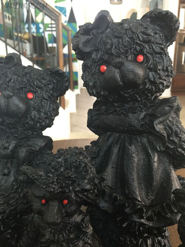 Hit your local thrift store and grab some spray paint to recreate these spooky Halloween figurines.
